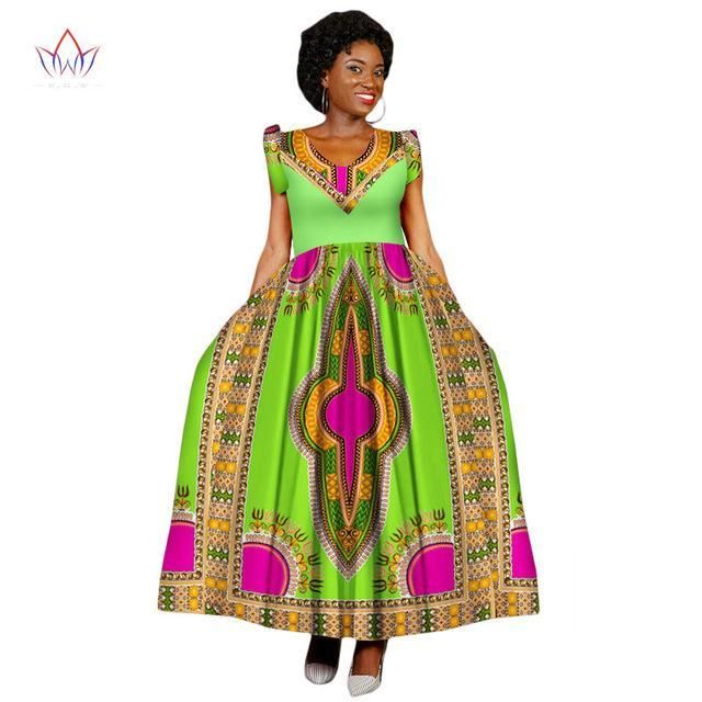 2017 Summer Maxi Dashiki Dress African Women Dress  Strapless Vestidos Elegant Printed Clothing Unique WY2201