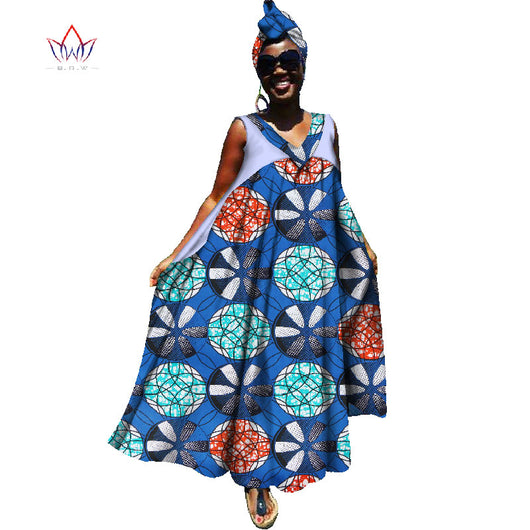 Summer Dress Maxi Dress African Dresses for Women Deep V Dresses Women Strapless Vestidos Elegant Printed Clothing Unique WY1411