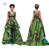 Elegant African Women Jumpsuits Maxi Sleeveless Romper And Long Dashiki Pants Plus Size  for Women