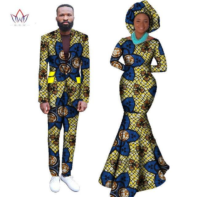 2017 African Dresses for Women African Dress Bazin Riche Women Maxi Dress & Mens Casual  Blazer Set 2 pieces Plus Size 6XL WYQ59