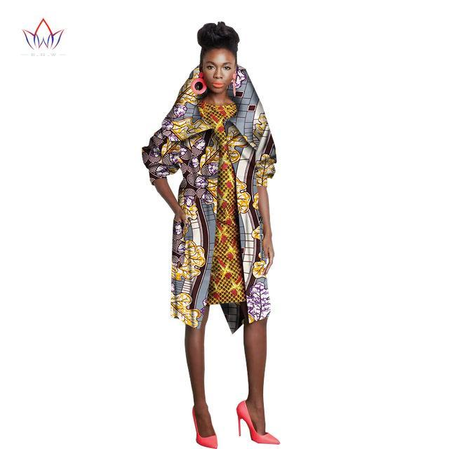 2017 African Autumn Trench Coat for Women Half Sleeve Denim Coat Trench Dashiki Ankara Fashional Clothing WY1164
