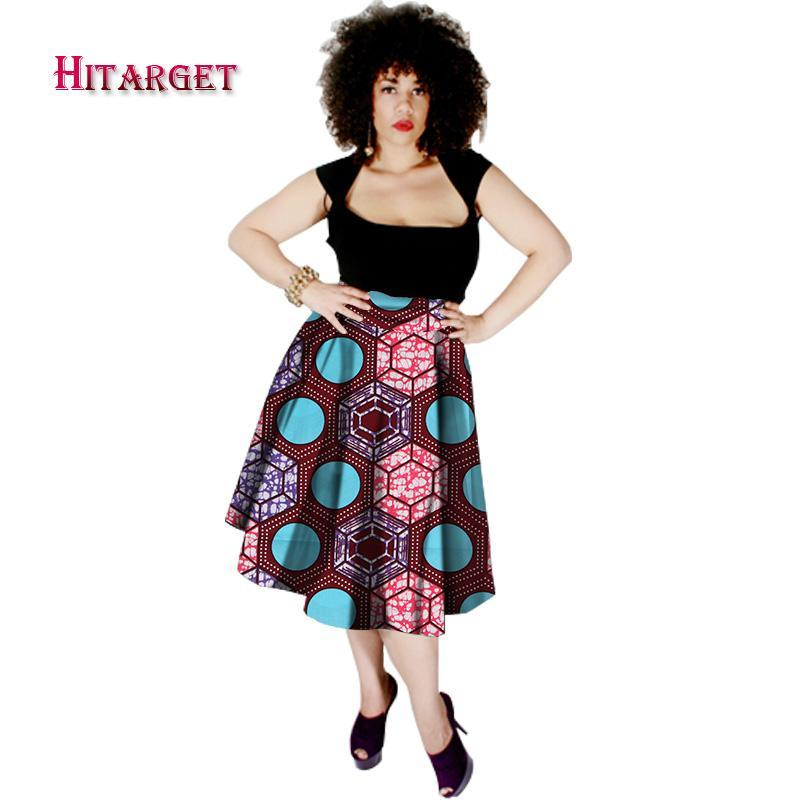 2017 Autumn Dashiki African High Waist Ball Grown Skirt Bazin Riche African printed Leisure Fashionable Skirt Hitarget WY292