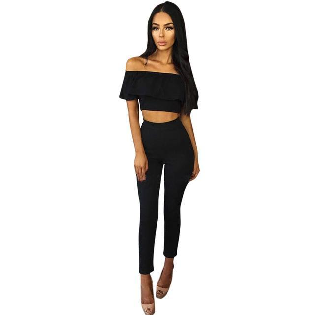e77902fa0 2017 Hot Casual Women Suits Sexy Two Piece Outfits Girls Fashion Ruffles Crop  Top And Long. Hover to zoom