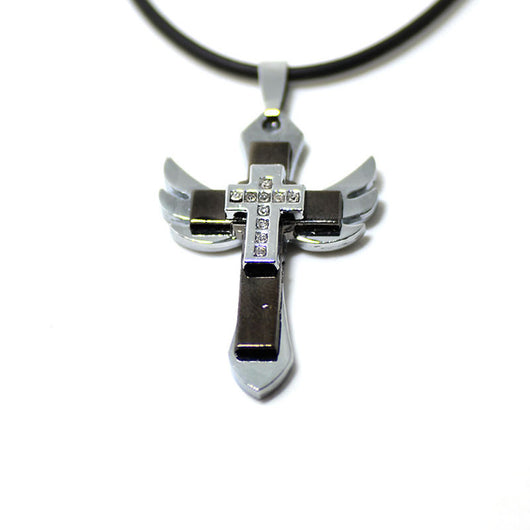 Men's Black Cross Angel Wing Pendant Necklace