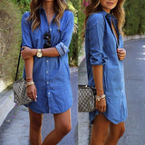Women Denim Shirt Chemise Long Sleeve Style Jeans BlouseTops-890-0w