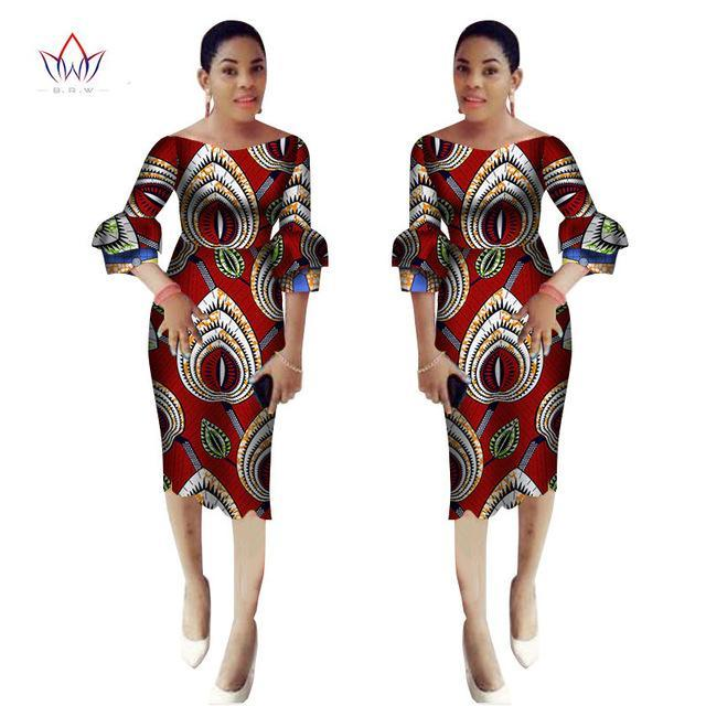 2017 Autumn African dresses for women ankara Party sheath Dress African sexy slash neck maxi stitching Batik Clothing BRW WY2274