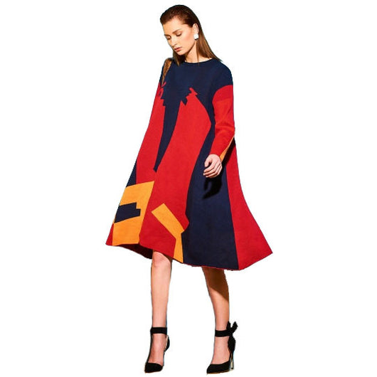 Asymmetrical Color Block Long Sleeve Women's Sweater Dress-0WB5436