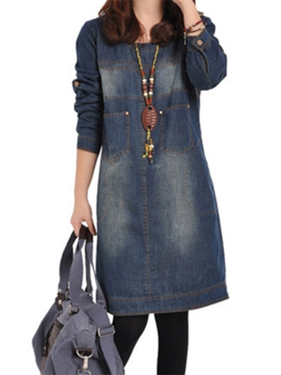 Straight Pockets Women's Denim Dress-009