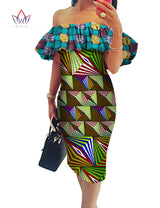 BRW 2017 New Africa Dresses for Women Dashiki Off the Shoulder African Dress Bazin Plus Size Traditional African Clothing WY574