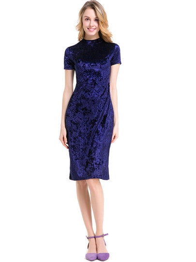 Plain Velvet Women's Sheath Dress-11