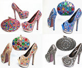 6 inches heel matching crystal clutches bag & shoes sets - Owame