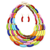 Women multi color layer Statement Necklace and Earring Jewelry Sets-OWAME78