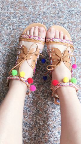 7c0879a54b Plus Size 34-43 Ethnic Bohemian Summer Woman Pompon Sandals Gladiator Roman  Strappy Embroidered Shoes Women Flat Sandals