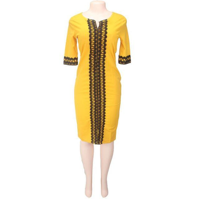 2017 New Summer Dress Sexy Fashion Ladies Bodycon Dresses African Print Embroidered Four Colors Big Elastic For Lady