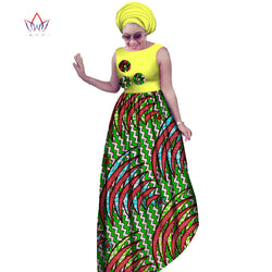 African Dresses For Women,  Plus Size Dashiki African Style, Sleeveless Maxi Dresses+Head Scarf 2 pieces