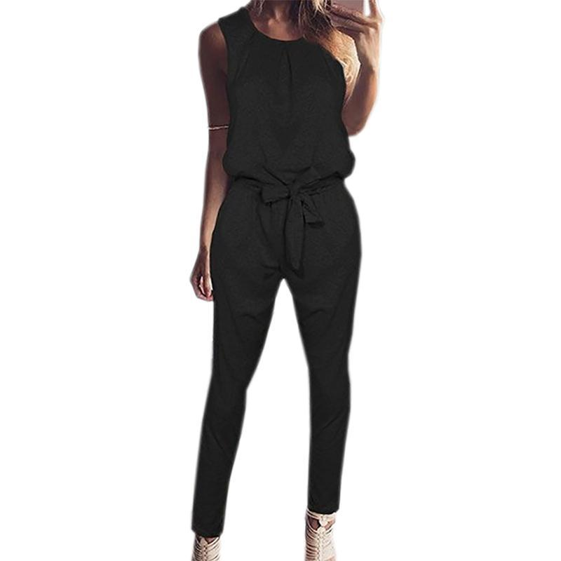2017 Fashion New Women Jumpsuits Ladies Sleeveless Playsuits Office Overalls Jumpsuit Rompers Body One Piece Clothing WS949R