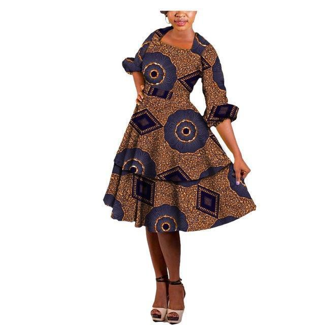 2017 african style ball gown women dress AFRIPRIDE private custom puff sleeve knee-length double layer casual dress A722585