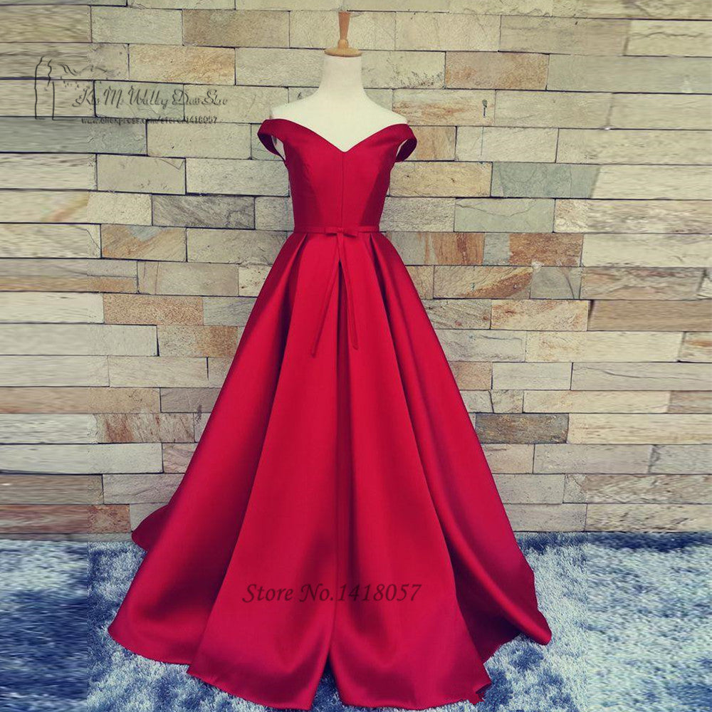 Vintage Red Prom Dresses Cheap Plus Size Satin Long Graduation Dress  Vestidos de Gala Fast Shipping Formal Evening Gowns 2017