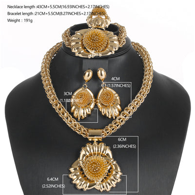 CWEEL Fashion Jewelry Sets Women African Beads Jewelry Set Party Round Turkish Ethiopian Nigerian Indian Bridal Jewelry Sets