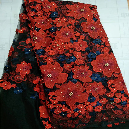 New African Lace Fabric, Embroidered Nigerian Laces Fabric,Red Black High Quality French Tulle Lace Fabric-D1141