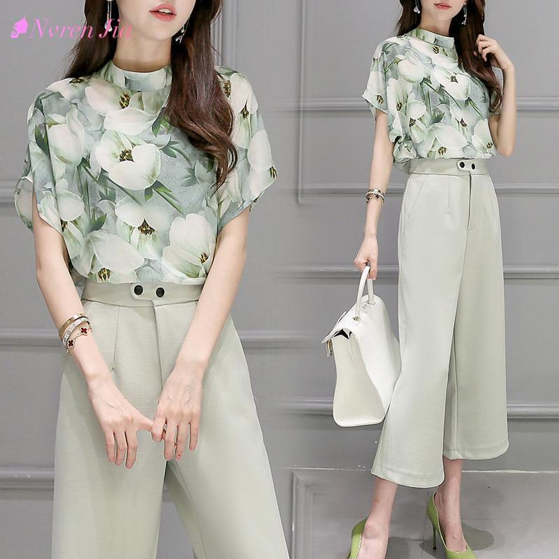 2 Two Piece Set Women Korea Hot Female Chiffon Blouse Tops Leg Pants  Summer printing Casual Sets Clothes Womens Suits