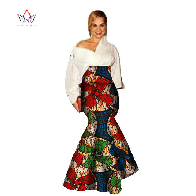 4d541bd371 African Dashiki Fabric Skirts for Women Plus Size 6xl Africa Wax Print  Style Clothing Long Mermaid. Hover to zoom