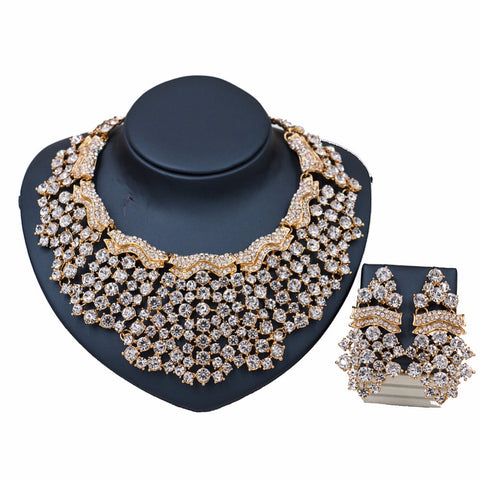 African Beads Jewelry Sets for Women Crystal Necklace Earrings Gold Color Wedding Dress Accessories for Party Holiday Wedding