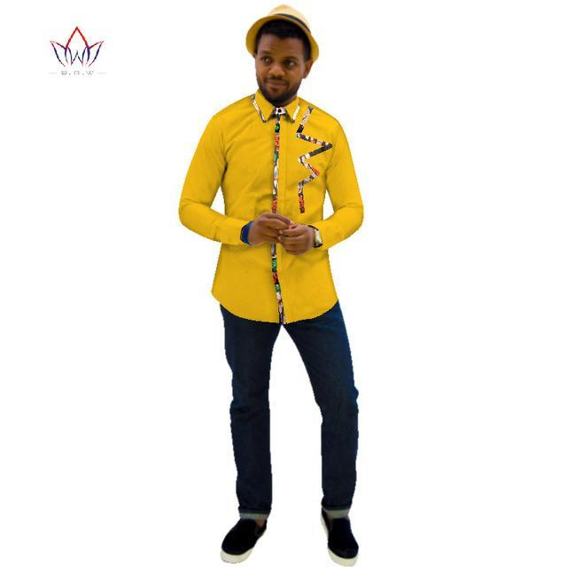 2017 Autumn Fashion Brand Clothes African Print Men's Dashiki Long Sleeve Shirt Body Corn and Slim Casual Shirt WYN341