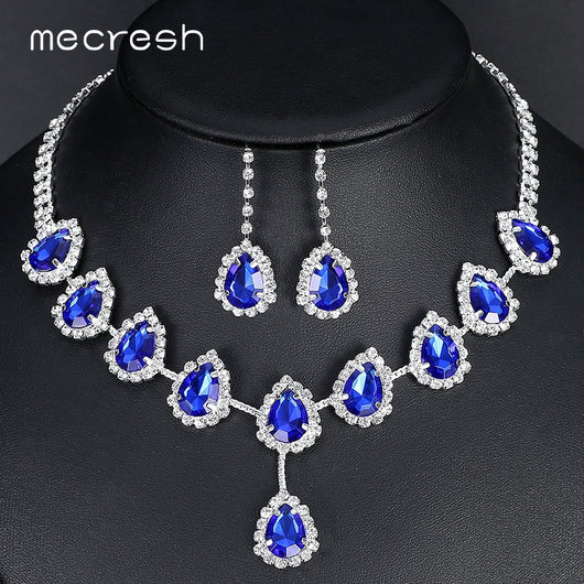 Mecresh Blue Teardrop African Beads Jewelry Set Crystal Wedding Bridal Jewelry Sets for Women Rhinestone Necklace Set Gift TL018