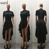 VAZN Special Design 2017 Popular Bandage Dress Short Sleeve Maxi Long Dress O-Neck Black Sexy Casual Dress J1374
