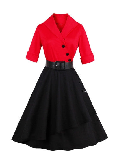 Lapel Buttons Women's Day Dress-009