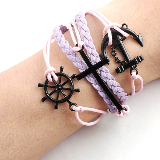 Handmade Rudder Anchor Black Cross Rope Leather Weave Jewelry Bracelet