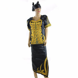 H&D african bazin for women embroidery clothing 2017 riche casual dress with short sleeves jupe africaine femme two 2 piece set