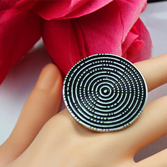 Popular wholesale Bohemian women leisure birthday party circular elastic plating ancient silver ring gift jewelry ring freeowame
