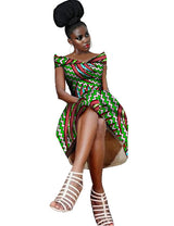 women Dress Wax Print Dashiki Dresses for Women Traditional African Clothing v-neck dress