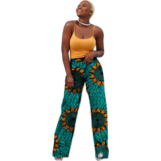 African Women Women Loose Pants,African Clothes Straight Pants Customized Ladies Dashiki Print Trousers#OWAME11