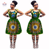 Summer Dress for Women Sleevees Knee-Length A-Line Dresses Dashiki African Print Real Wax Party Dresses Plus Size 6XL BRW WY1034