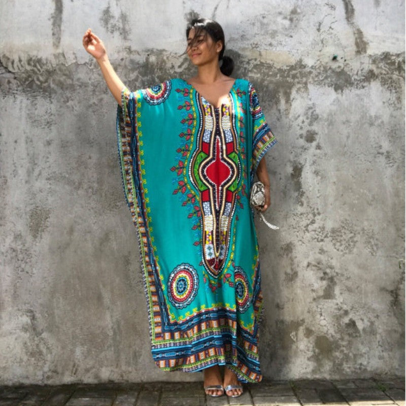 9e4ba59bdb333 Zmvkgsoa Boho Kaftan Smock African Dashiki Dresses Women Summer Beach  Casual Multicolor Batwing Sleeve Maxi Long Dress Robe 1452