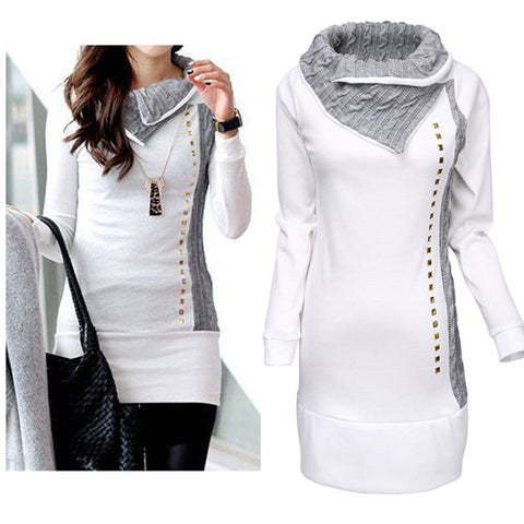 New Women Long sleeve Patchwork Sequined Asymmetrical Neck Sim Jumper Pullover Tops Coat Winter Fall Autumn Sweatshirts