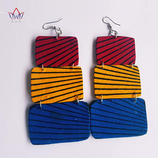African Ankara Fabric Earrings, African Cloth Tribal Handmade Jewelry, Multi Tiered Ankara Print Geometric Earring-0WM1805
