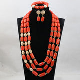 Beautiful Indian Bridal Coral Statement Necklace Set Wedding Nigerian Coral Beads Jewelry Set Women Jewelry Set, Big bold african jewelry Set,Large Orange Coral Bead Set/African Wedding Coral Bead Set/ Nigerian Bridal Beads Sets/African Coral Beads Sets