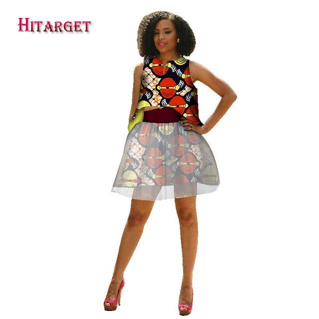 2017 New Hitarget private custom african clothes top+skirt suit for women knee-length sleeveless batik Kanga Clothing WY1761