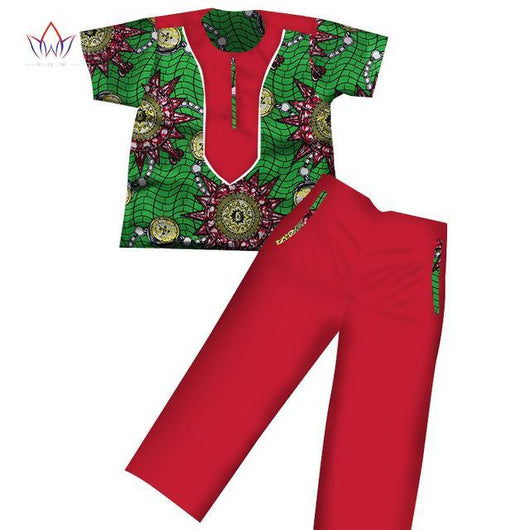 2017 Boys Clothes African Dashiki Kids Clothing Short Sleeves Plus Solid Color Long Pant for Children WYT116