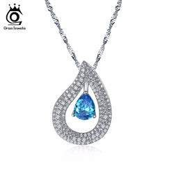 ORSA JEWELS Women Pendants & Necklaces AAA Big Blue Cubic Zircon Female Necklace With Chain Fashion Jewelry ON121