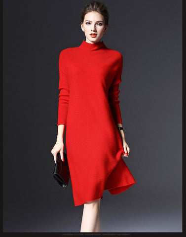 c5b42ad89c7 ... Image of spring winter long sleeve loose pure color knitted dresses  ladies red new years eve ...