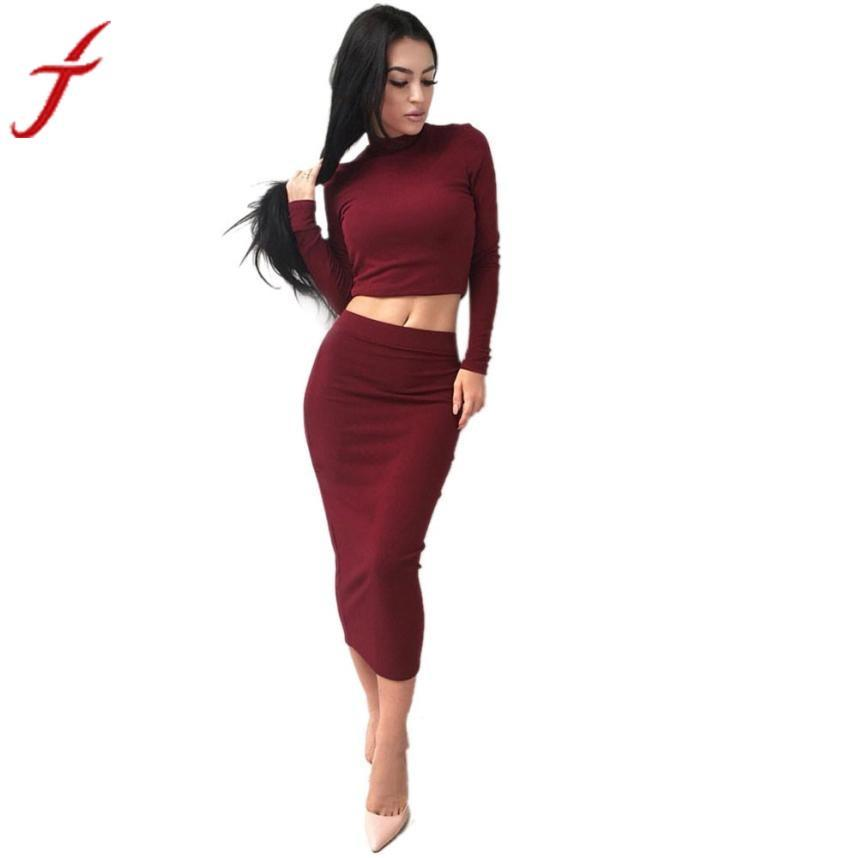 0217 Fashion 1PC Blouse+1PC Dress Sexy Solid Women Long Sleeve Bodycon Party Cocktail Club Dresses Workwear