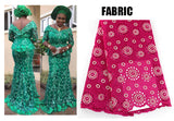 African Women Lace & Multi colourful African print dinner dress, Kanga Clothing, African Lace Print Skirt and top Set for Women