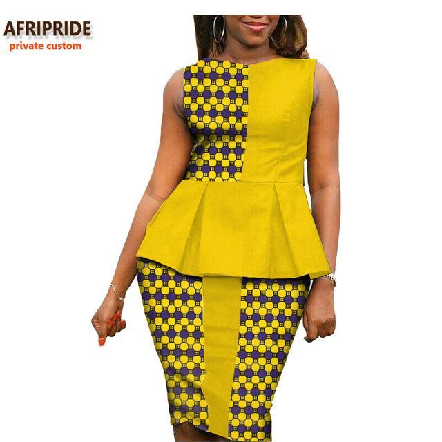 2017 Autumn african women casual suit AFRIPRIDE private custom sleeveless pleated top+knee-length pencil skirt plus size A722614