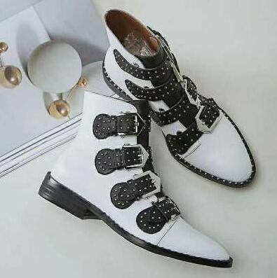 70e75c26715d ... Black Leather Studded Ankle Boots For Women Gold Metal Buckle Strap  Sexy Motorcycle Booties Flat Heel ...