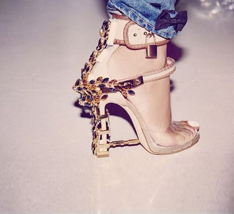Padlock Spiked High Heels ,Transparent PVC Rihanna Styl